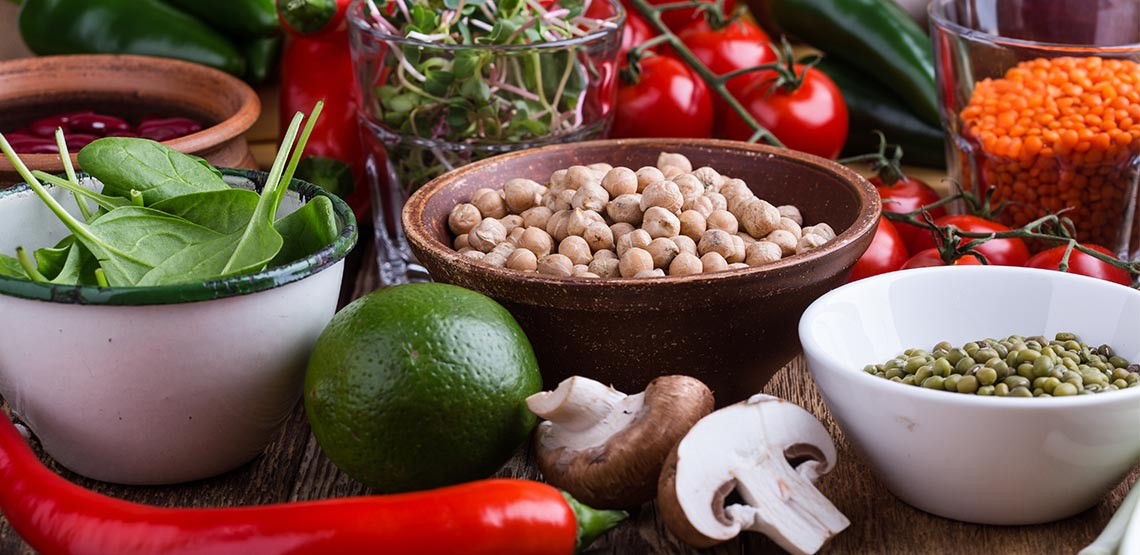 Health foods on a table