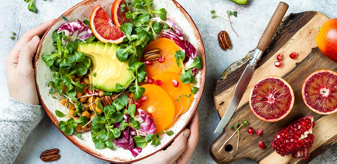 Bowl of healthy and colorful food