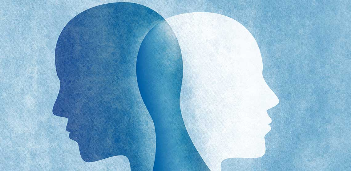 Two heads overlapping, colored blue and white