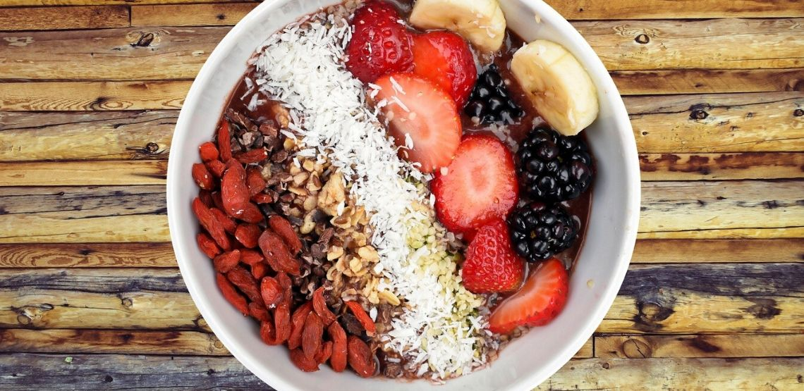 A bowl of oats and fruit.