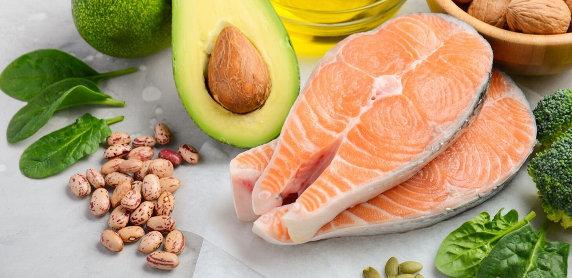 salmon, avocado, beans, nuts and leafy greens, all foods that make a healthy diet for diabetics