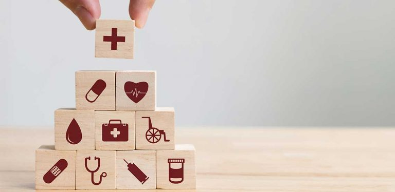 Healthcare images on small wooden blocks