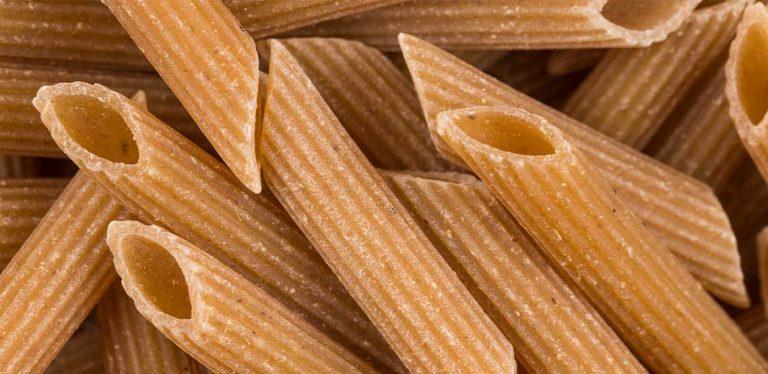 Whole grain pasta noodles.